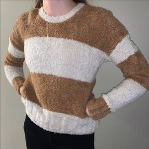 Brown and white stripe sweater